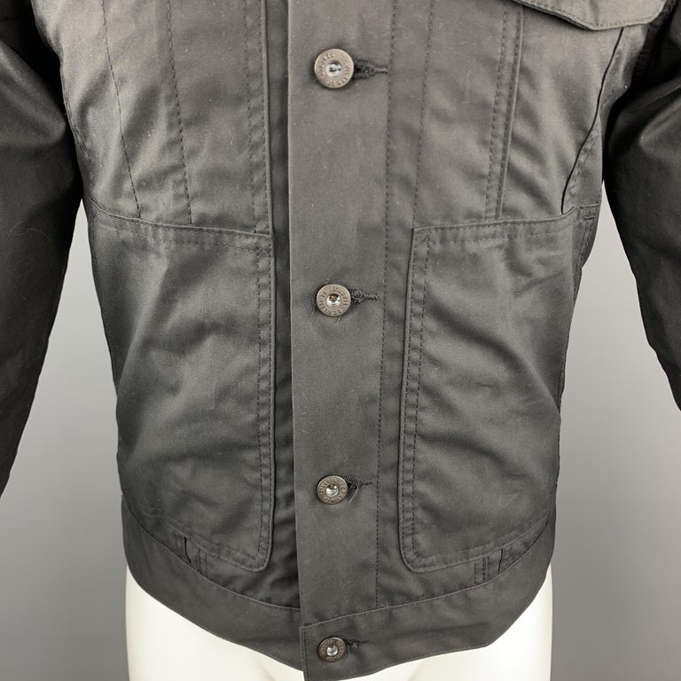 FILSON Size XS Black Coated Cotton Patch Pocket Button Up Trucker Jacket In Excellent Condition For Sale In San Francisco, CA