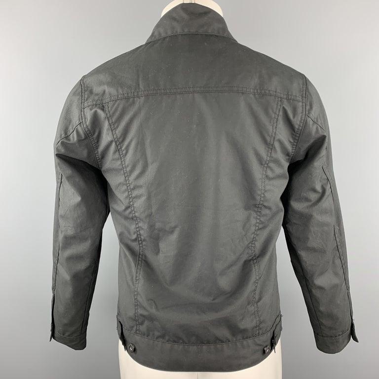 Men's FILSON Size XS Black Coated Cotton Patch Pocket Button Up Trucker Jacket For Sale