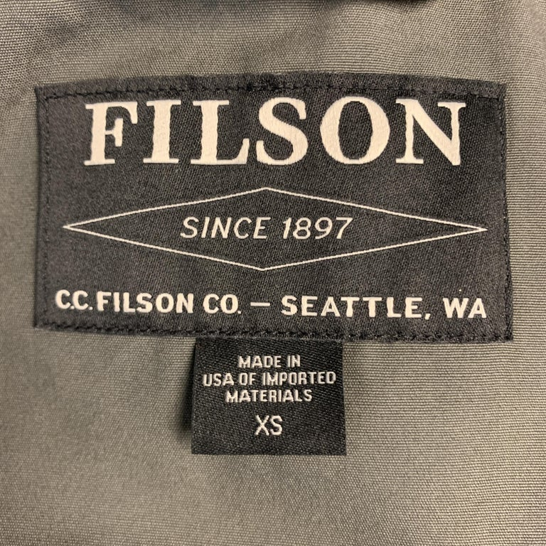 FILSON Size XS Black Coated Cotton Patch Pocket Button Up Trucker Jacket For Sale 4