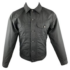 FILSON Size XS Black Coated Cotton Patch Pocket Button Up Trucker Jacket