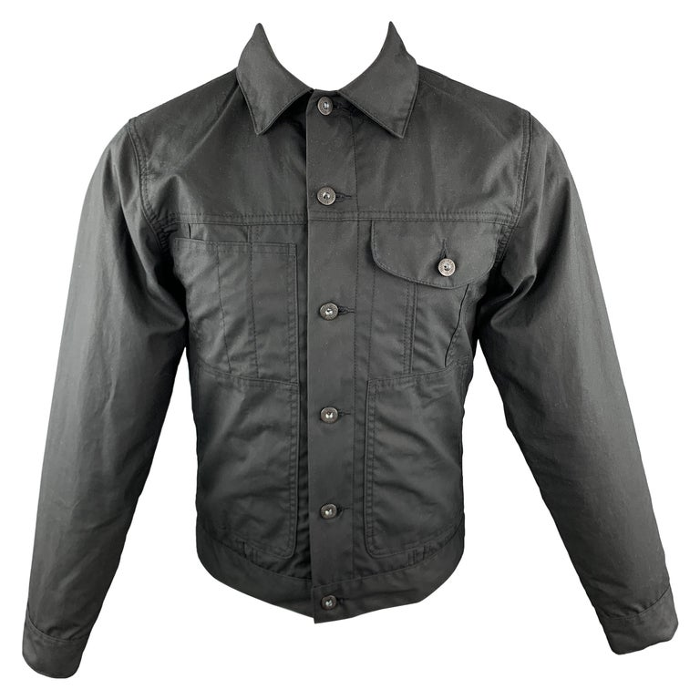 FILSON Size XS Black Coated Cotton Patch Pocket Button Up Trucker Jacket For Sale