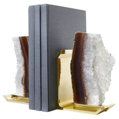Fim Bookends in Agate Druze and Brass by Anna New York