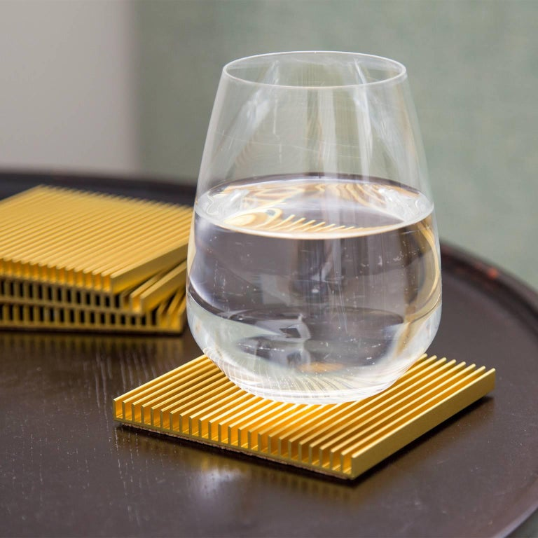 Fin Coasters from Souda, Factory 2nds, Set of Four, Gold In Fair Condition For Sale In Brooklyn, NY