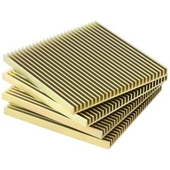 Fin Coasters from Souda, Factory 2nds, Set of Four, Gold