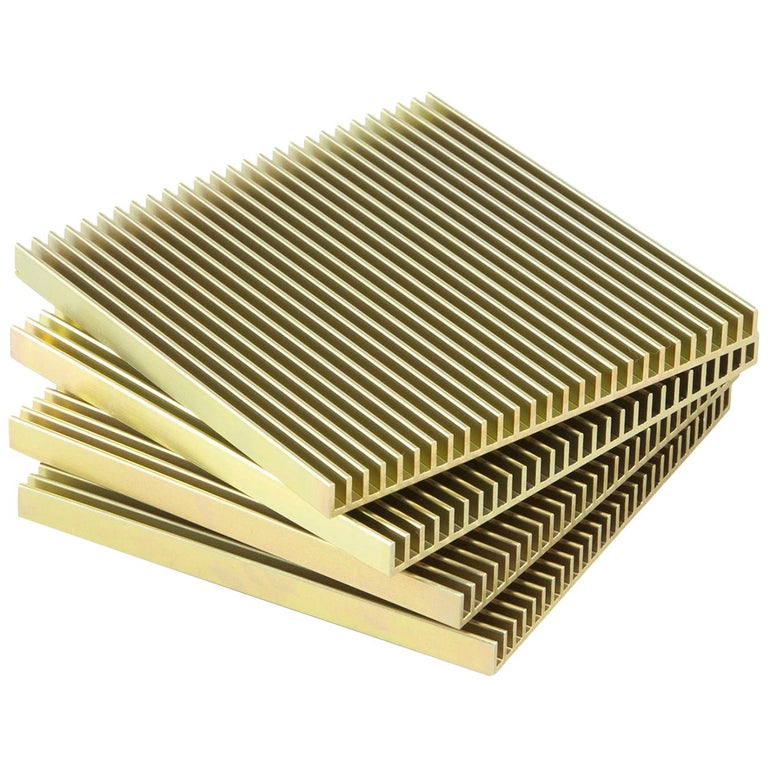 Fin Coasters from Souda, Factory 2nds, Set of Four, Gold For Sale