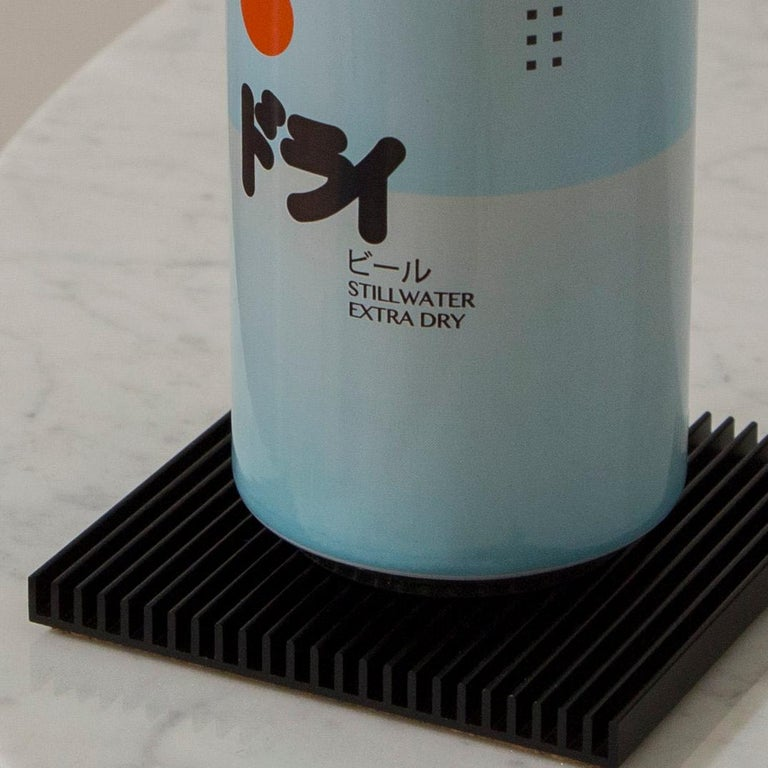 Chinese Fin Coasters from Souda, Set of Four, Black, in stock For Sale