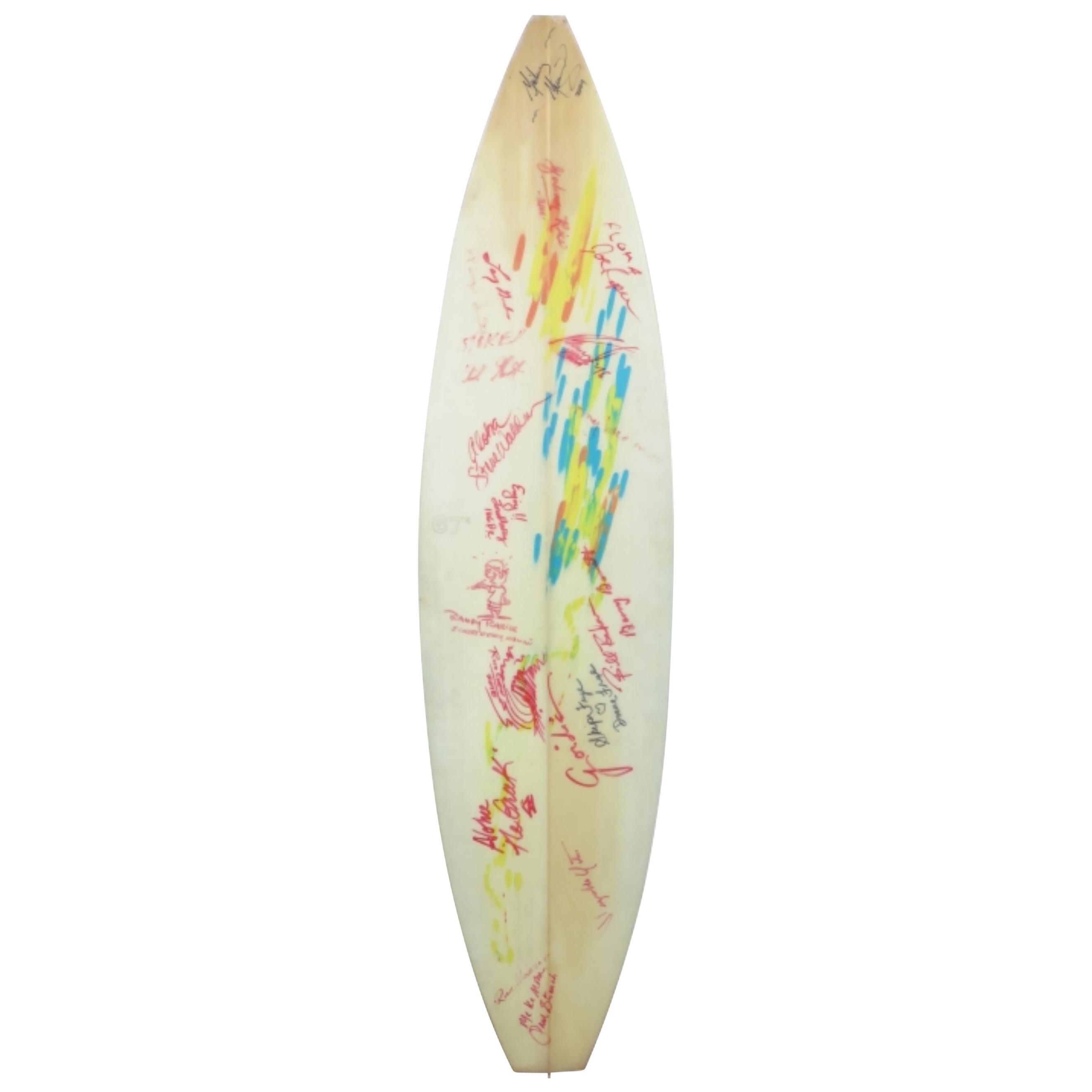 Final Clark Foam Surfboard Blank Signed by Surfing Legends