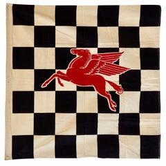 Final Lap Winners Circle Checkered Flag with Mobiloil Pegasus Logo Garage Art