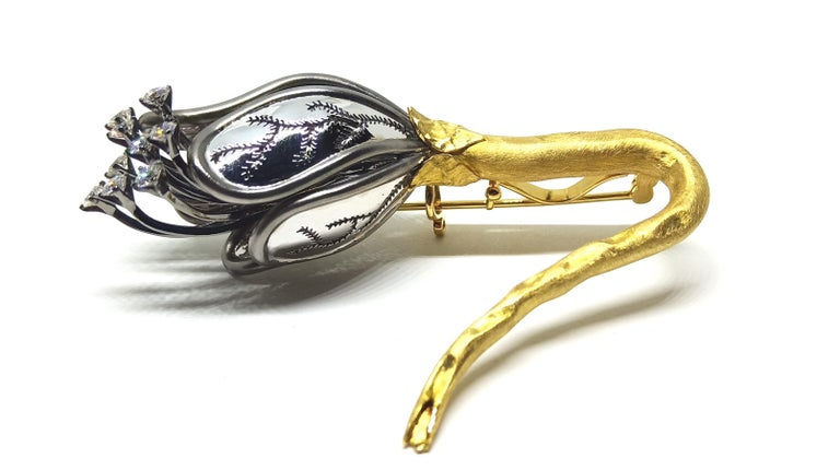 Women's or Men's Find Your Significant Other in Contemporary One of a Kind Diamond Gold Brooch For Sale