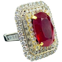 Fine 12.78 Carat Mozambique Ruby and Diamond Ring
