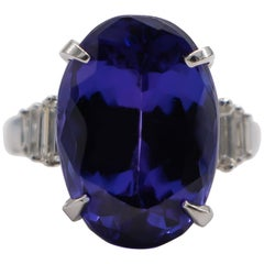Fine 15+ Carat Tanzanite Cocktail Ring with Diamonds 18 Karat Gold