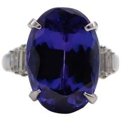 Fine 15+ Carat Tanzanite Ring with Diamonds 18 Karat Gold