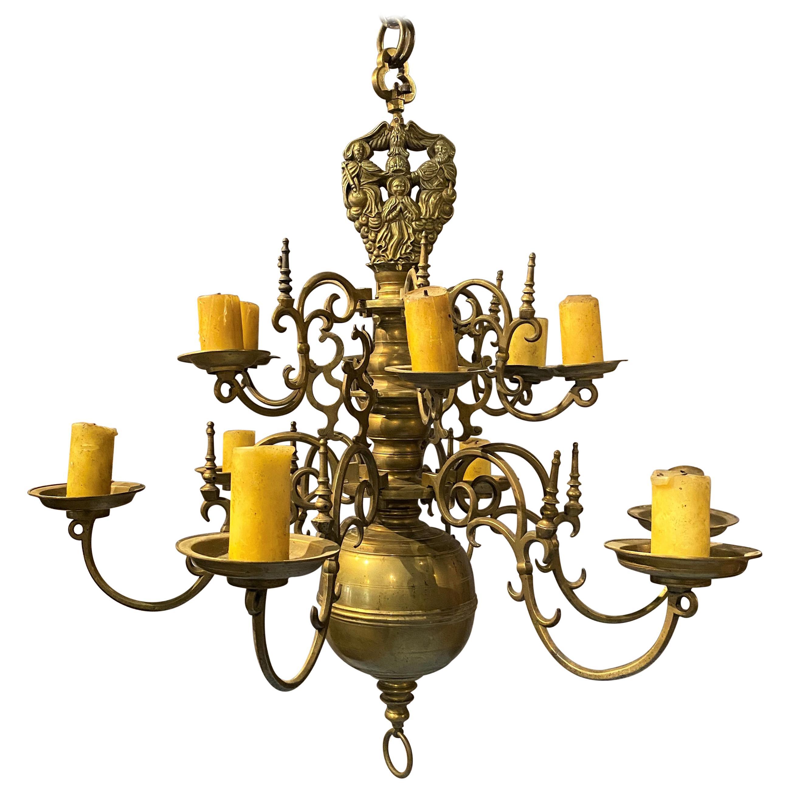 Fine 17th-18th Century Polish or Dutch Brass Two-Tier 12-Light Chandelier