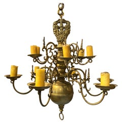 Fine 17th-18th Century Polish or Dutch Brass Two-Tier 12-Light Chandelier