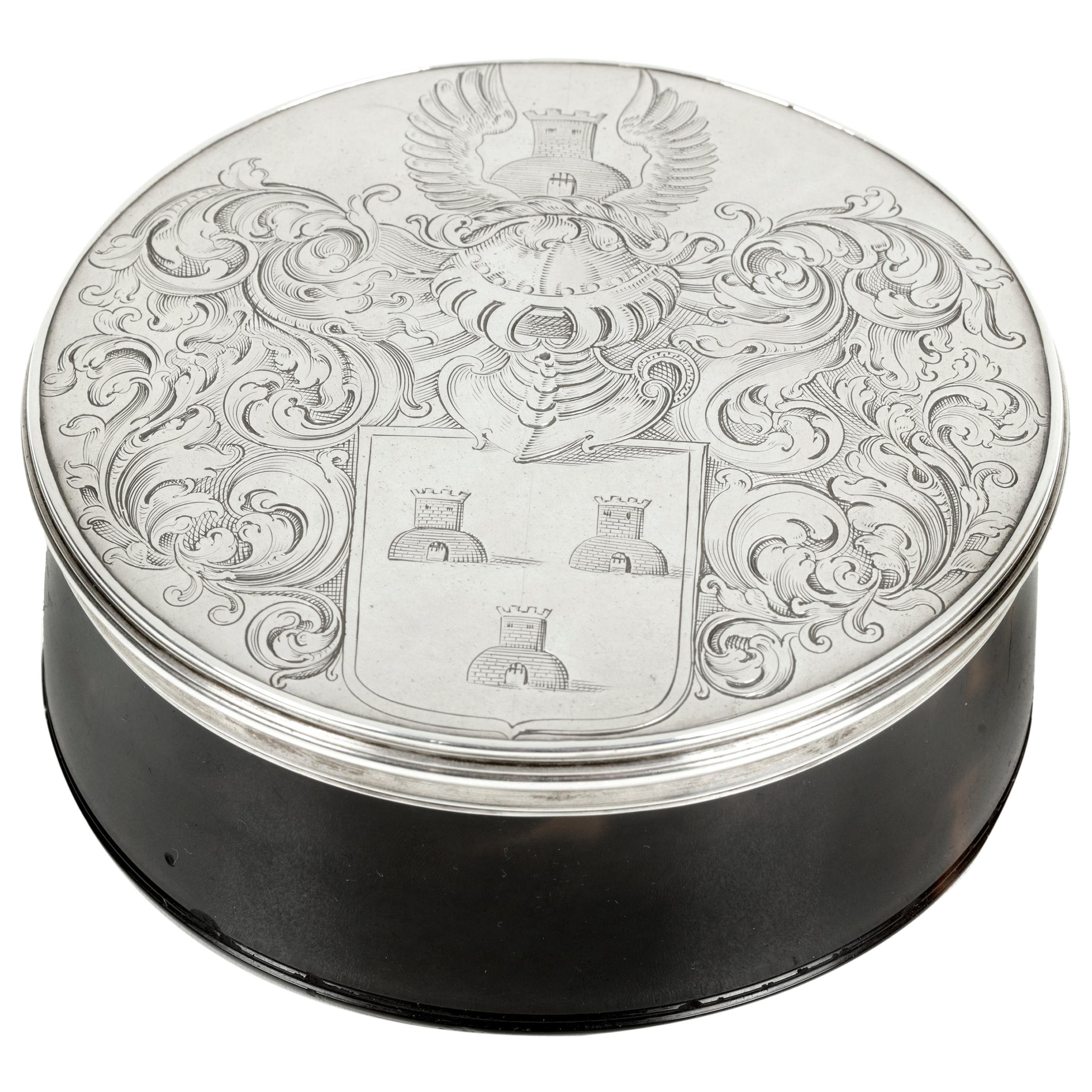 Fine 17th Century Dutch Colonial Armorial Tortoiseshell & Silver Box, Dated 1691