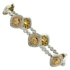 Fine 18 Karat Gold, Diamond and Diamond Bracelet