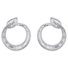 Fine 18 Karat White Gold 1.95 Carat Natural Diamonds Leaf Hoop Earrings