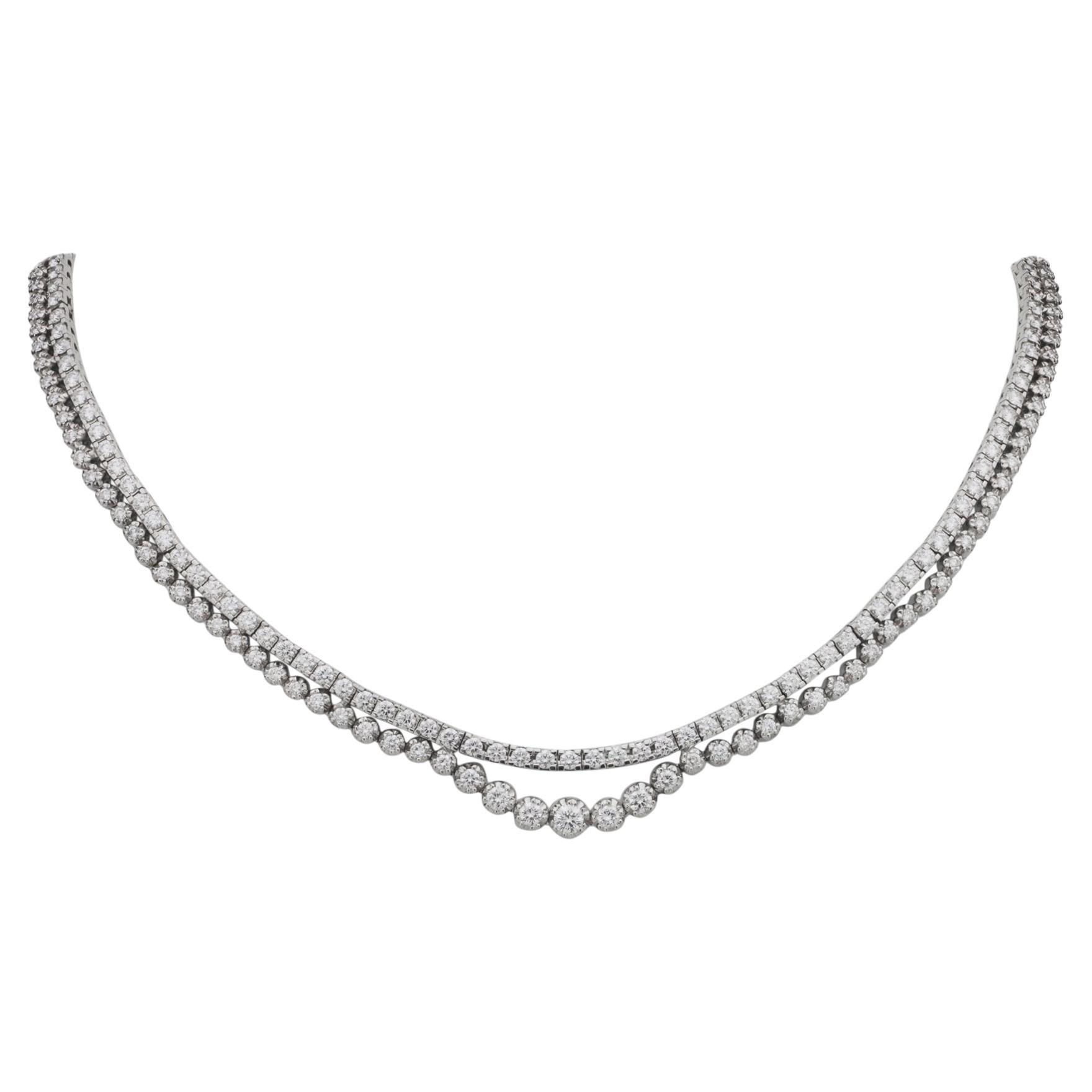 Fine 18 Karat White Gold and Diamond Riviere Necklace