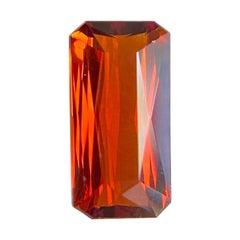 Fine 1.89ct Vivid Orange Spessartine Garnet Fancy Emerald Octagon Cut