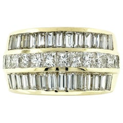 Fine 18K Gold 5.76ctw 3-Row Princess & Baguette Diamond Wide Statement Band Ring