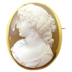Fine 18k High Relief Genuine Natural Stone Cameo Pin '#3568'