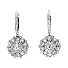Fine 18 Karat White Gold 2.48 Carat Natural Diamonds Flower Dangle Earrings