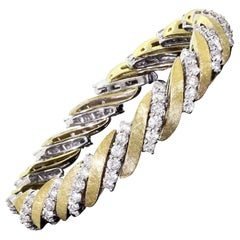 Fine 18K Yellow & White Gold 7CTW Diamond Dinner Cocktail Bracelet 96 Stones 41G