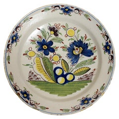 Fine 18th c Dutch Polychrome Painted Delft Charger