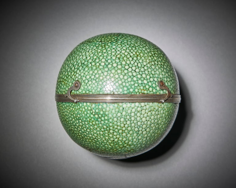Cary's Pocket globe, agreeable to the latest discoveries, London: J&W Cary, Strand, April 1791  A rare 3 inch diameter example of Cary's pocket globe in a superb green shagreen-covered case with two silvered hook and eye clasps. The terrestrial