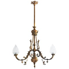 18th Century French Fire-Gilded Bronze Electried Church Chandelier
