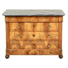 Fine 18th Century French Walnut Chest With Grey Marble Top