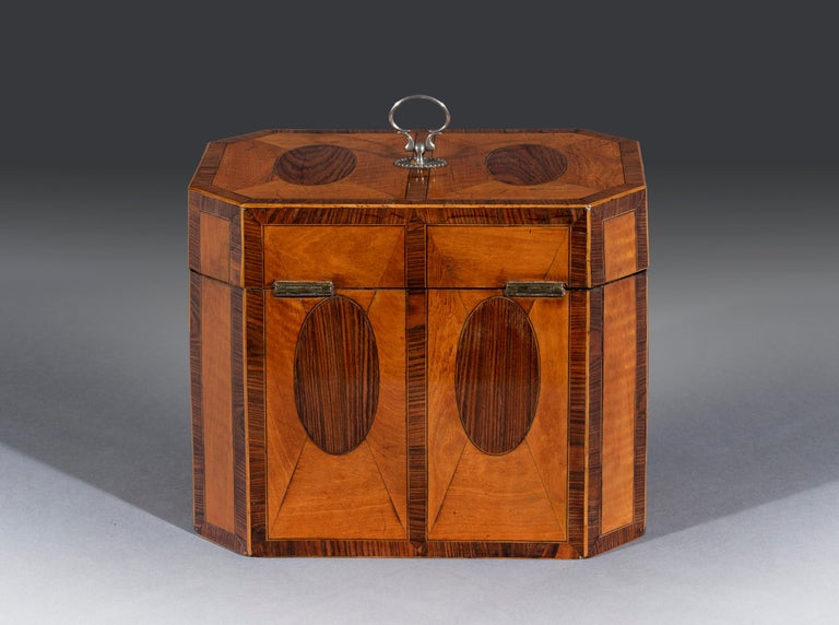 English Fine 18th Century George III Period Satinwood and Padouk Inlaid Tea Chest For Sale