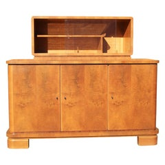 Fine 1940s Art Deco Burl Wood Bar Cabinet Display Pull Out Leather Table