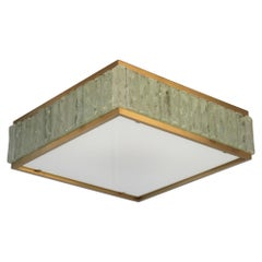 """Fine 1950's Brass and Glass Square """"Queen Necklace"""" Ceiling Light by Perzel"""