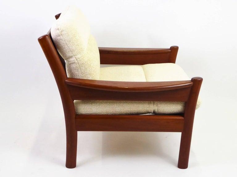 Fine 1960s Dyrlund Teak Lounge Armchair Denmark with Chenille Cushions For Sale 2