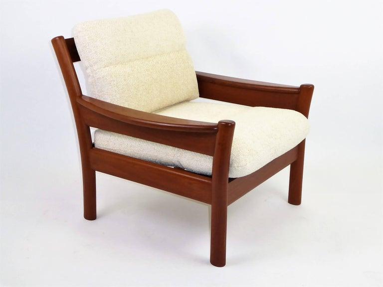 Fine 1960s Dyrlund Teak Lounge Armchair Denmark with Chenille Cushions For Sale 3