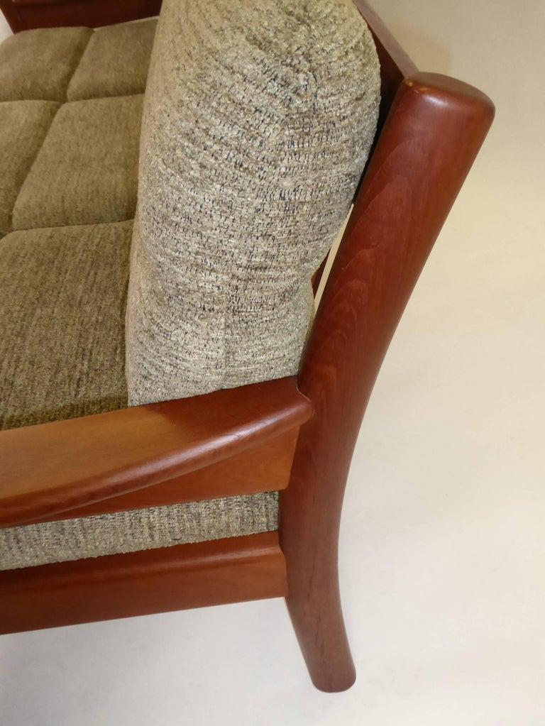 Fine 1960s Dyrlund Teak Sofa Denmark with Chenille Cushions For Sale 3