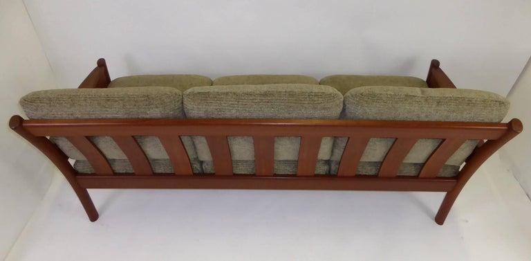 Fine 1960s Dyrlund Teak Sofa Denmark with Chenille Cushions For Sale 4