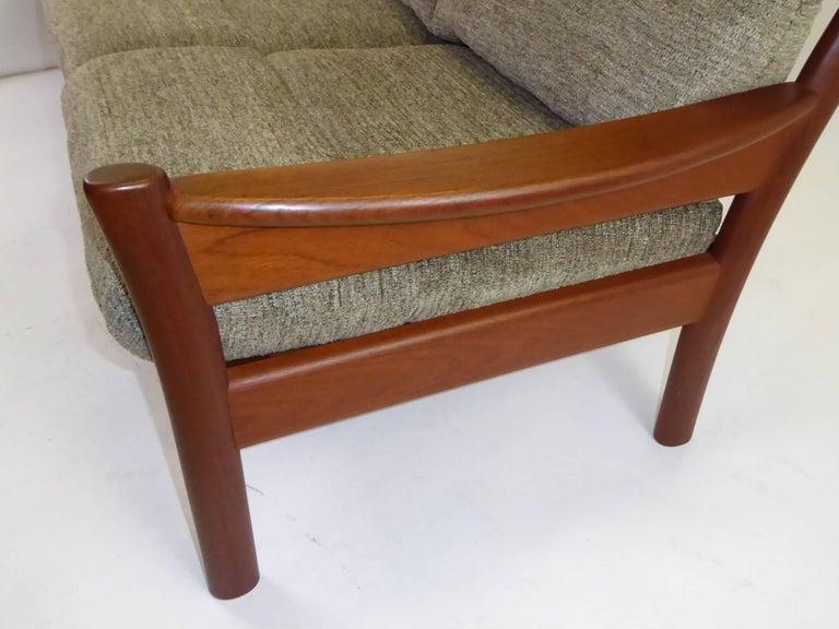 Fine 1960s Dyrlund Teak Sofa Denmark with Chenille Cushions For Sale 5