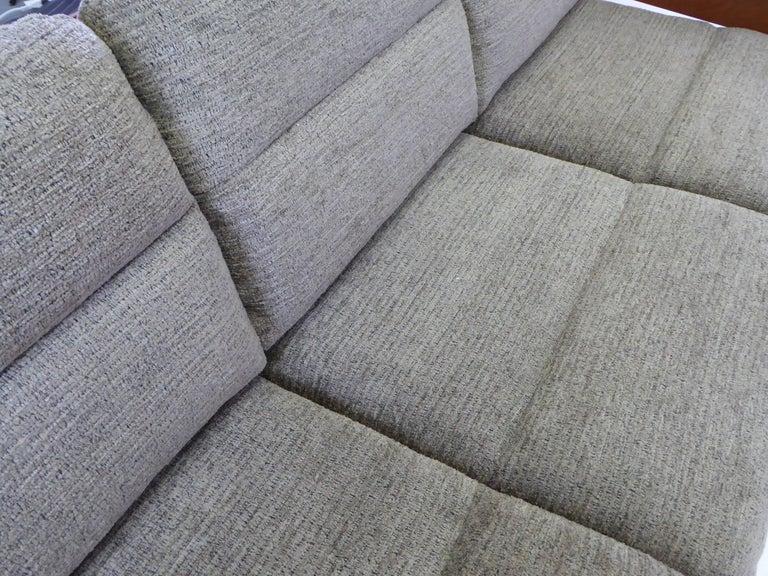 Fine 1960s Dyrlund Teak Sofa Denmark with Chenille Cushions For Sale 8