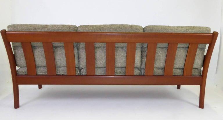 Scandinavian Modern Fine 1960s Dyrlund Teak Sofa Denmark with Chenille Cushions For Sale