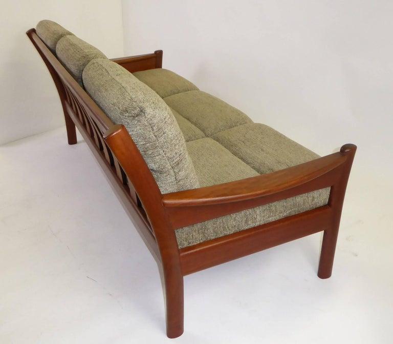 Danish Fine 1960s Dyrlund Teak Sofa Denmark with Chenille Cushions For Sale