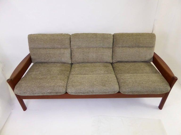 Mid-20th Century Fine 1960s Dyrlund Teak Sofa Denmark with Chenille Cushions For Sale