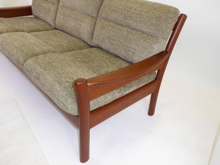 Fine 1960s Dyrlund Teak Sofa Denmark with Chenille Cushions For Sale 1