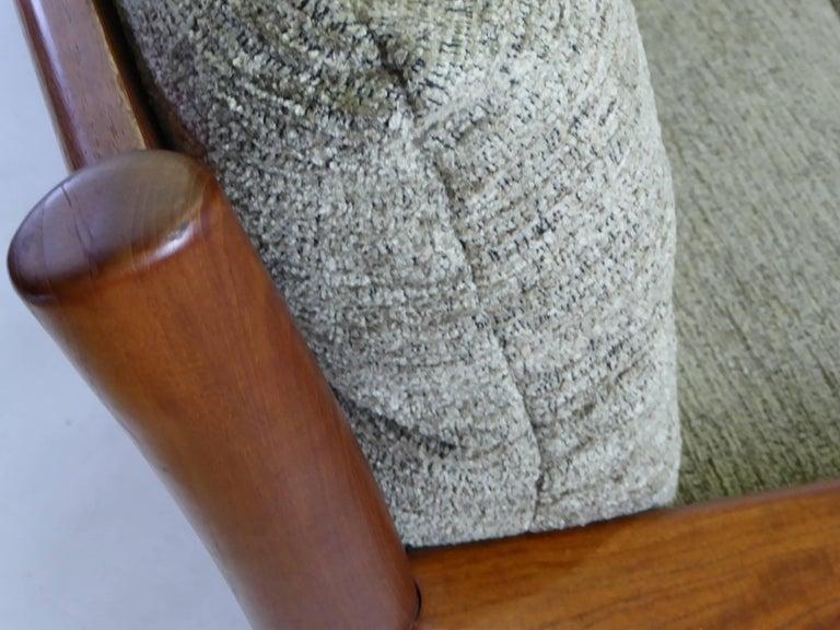 Fine 1960s Dyrlund Teak Sofa Denmark with Chenille Cushions For Sale 2