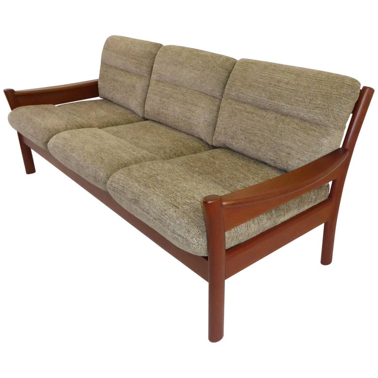 Fine 1960s Dyrlund Teak Sofa Denmark with Chenille Cushions For Sale
