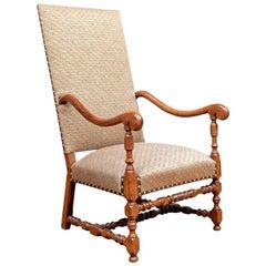 Fine 19th Century English Walnut Tall Back Hall Chair