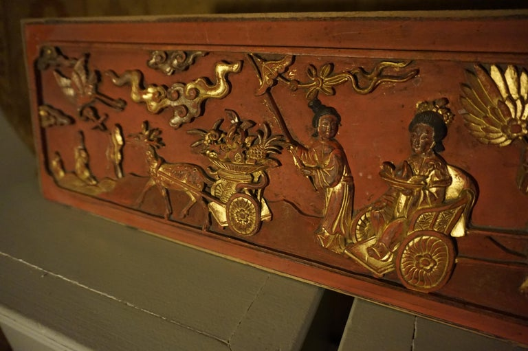 Finely carved Chinese wall plaque panel depicting fruit and nobility. Good condition and patina.