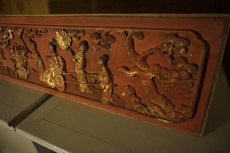 Qing Fine 19th Century Carved Chinese Gilded Wall Plaque Panel For Sale