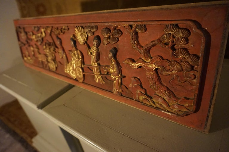 Wood Fine 19th Century Carved Chinese Gilded Wall Plaque Panel For Sale